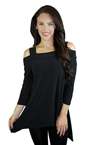 Asymmetric tunic with cold shoulder cut outs (Large)