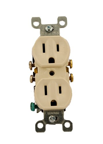(Leviton 5320-TCP 15 Amp, 125 Volt, Duplex Receptacle, Residential Grade, Grounding, All Screws Backed Out, Light Almond)