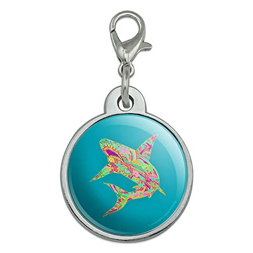 GRAPHICS & MORE Mosaic Lily Shark Tropical Island Surf Chrome Plated Metal Pet Dog Cat ID Tag - Small