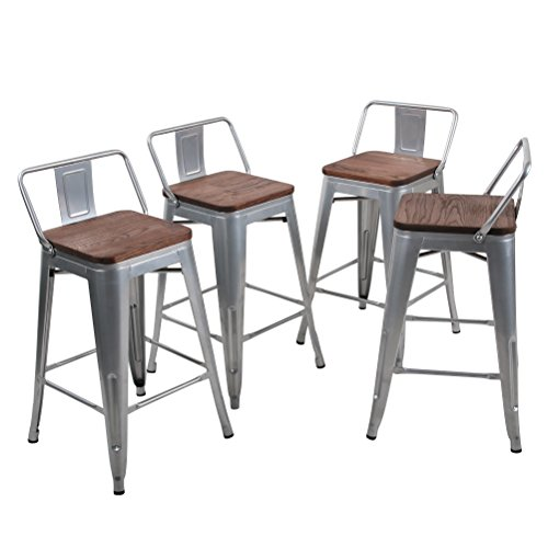 Tongli Metal Barstools Set Industrial Counter Height Stools(Pack of 4) Patio Dining Chair Silver Wooden Seat Low Back 24