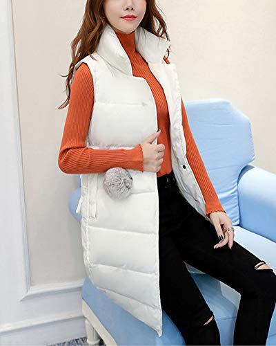 GladiolusA Long Jackets Gilets Padded Waistcoat Women's Sleeveless Quilted Vest Down White Coat HqHrz