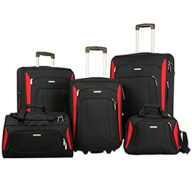 Merax Newest 5 Piece Softshell Deluxe Expandable Rolling Luggage Set (Black & Red)