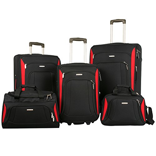 Merax Newest Softshell Deluxe Expandable Rolling Luggage Set,  Black/Red,  5 Piece by Merax
