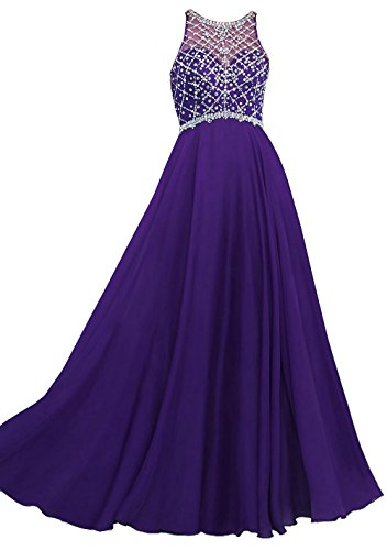 Callmelady Sheer Neck Chiffon Prom Dresses 2016 Long Evening Gowns for Women (Violet, US20W)