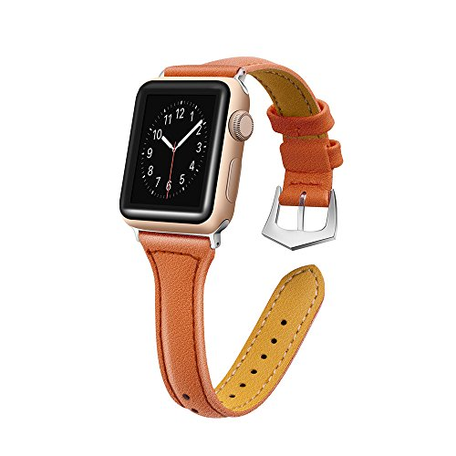 - Sunbona 38mm Bracelet Band for Apple Watch Series 1/2/3, Solid Color Durable Leather Adjustable Sports Bangle Replacement Wrist Women Strap Gifts (Brown)