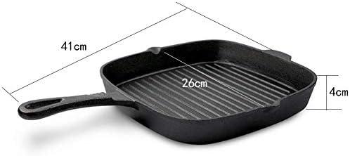 Plateau De Cuisson En Acier Inoxydable Multi-fonction Poêle À Frire De Cuisson Frite Œuf Poché Steak Barbecue Noir Taille: 41 * 26 * 4cm