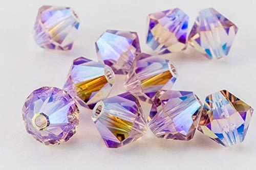 25 pcs - Swarovski Crystal 5mm Bicone Bead 5301 - Light Amethyst AB 2X ()