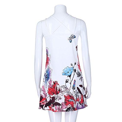 86b0b9da64 ... Sunhusing Ladies Sling Strapless Flower Print Tank Top Dress Sleeveless  Mini A-Line Beach Sundress ...
