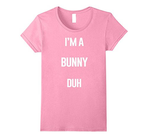 Homemade Halloween Costumes For A Couple - Womens I'm A Bunny Duh Easy Halloween and Christmas Costume Shirt Large Pink