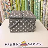 Hobbygift Value Collection: Sewing Box (L): Twin Lid: Square: Grey Linen Polka Dot, Cotton Blend Assorted, 25 x 25 x 17 cm