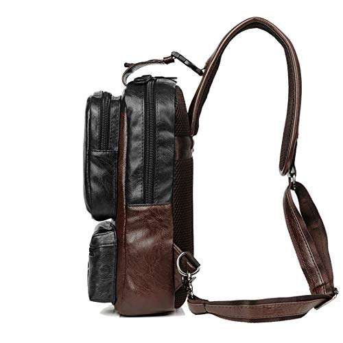 Sling Backpack Men Vintage PU Leather CrossBody Large Capacity Casual Office Travel Backpack With External USB Charge and Earphone Outdoor Cross body Bag ()