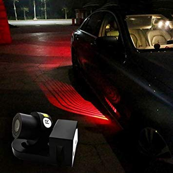 Uniqus DC 8-36V Ghost Shadow Courtesy Angel Wings Projection Lamp Car Door LED Welcome Lights, Light color  Red