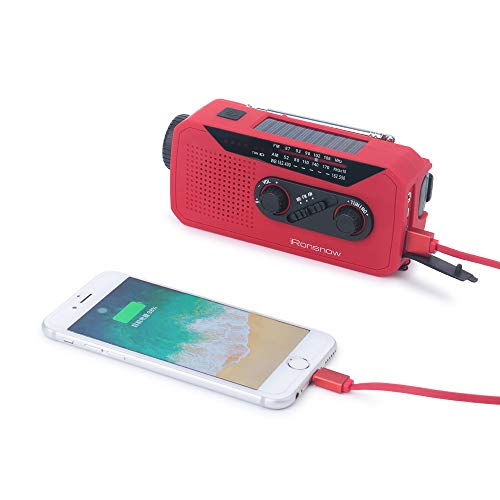 iRonsnow IS-366 Solar Emergency NOAA Weather Radio Hand Crank Windup WB/AM/FM Radios with Earphone Jack & Charge Indicator, 2000mAh Power Bank Phone Charger, Ultra Bright Flashlight for Camping (Red) by iRonsnow (Image #6)