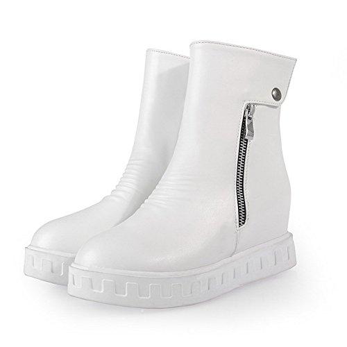 AmoonyFashion Womens Pu Mid Top Solid Zipper Kitten Heels Boots White bNi7b93h