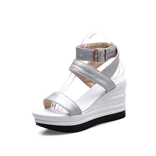 Womens Metal Silver Patent Platforms Leather Sandals Wedges Platform Buckles BalaMasa Td5BwqT
