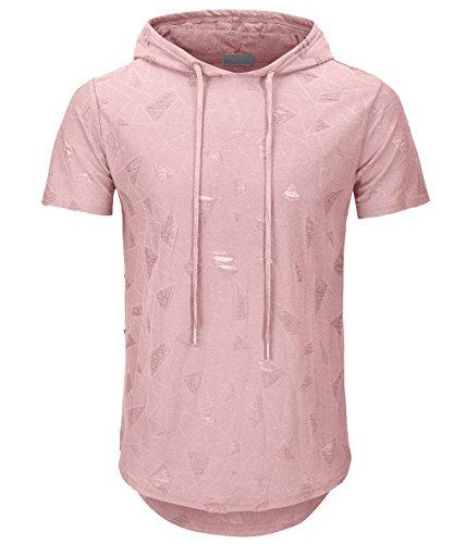 KLIEGOU Men's Hipster Hip Hop Hoodie Hole Tshirt 1705-2 (Large, Pink)