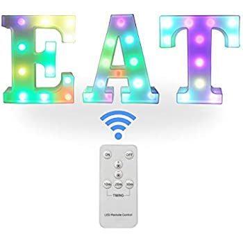 Color Changing EAT LED Sign - Illuminated Color Changeable EAT Lights - Black Light Up Marquee Letters - Kitchen Signs Wall Decor