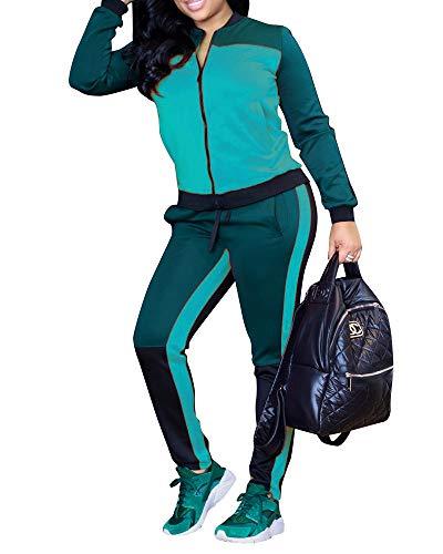 Makkrom Womens Color Block 2 Piece Outfits Long Sleeve Full Zip Jacket & Pants Set Tracksuit Sweatsuits Athletic Joggers Jog