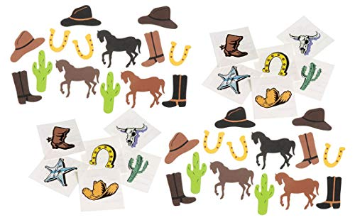 198 Piece Cowboy Western Theme Tattoos & Foam Stickers Bundle Pack for Kids -