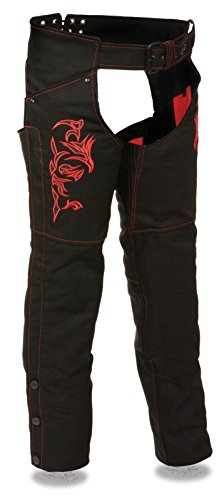 Milwaukee WOMEN'S MOTORCYCLE MOTORBIKE TEXTILE CHAP RED REFLECTIVE EMBROIDERY BLACK NEW (2XL Regular)