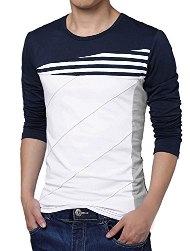 Allegra K Men Color Block Stripes Tee Shirt Blue White L