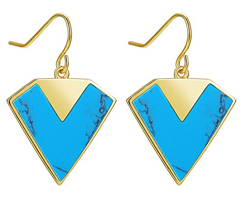 Sh-star Harvest Géométrie Argent sterling 925turquoise Boucles d'oreilles à tige