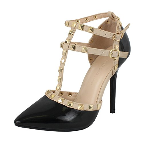 Wild Diva Women Stiletto Heels Pointy Toe Studded Pumps Strap ADORA-64 (5, Black Patent)
