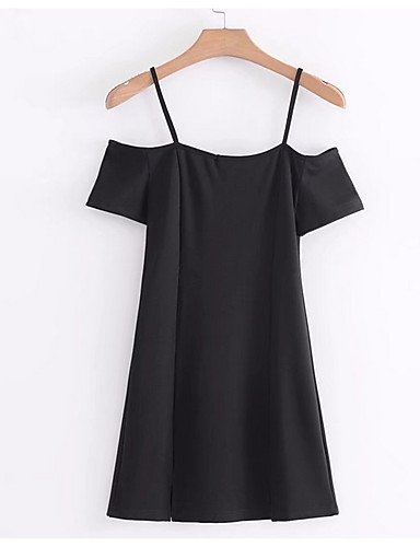 GAOLIM Mujer'S Pequeño Vestido Negro - Sólido, Basic Mini Correa,Negro,M