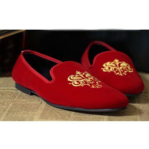 Fulinken Mens Moda Velluto Slip-on Scarpe Pantofole Punta Rotonda Mens Casual Mocassini Ricamati Nero / Blu / Rosso Rosso Reale