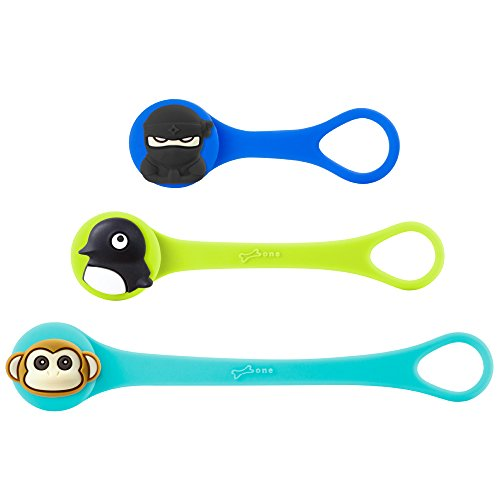 All-Purpose Silicone Reusable Cable Ties, Bone Collection Colorful Elastic Cable Organizer Management Zip Wire Strap Wrap Cute Cartoon Kids, Q Cord Ties Series - 3 Pack Assorted Colors/Set E