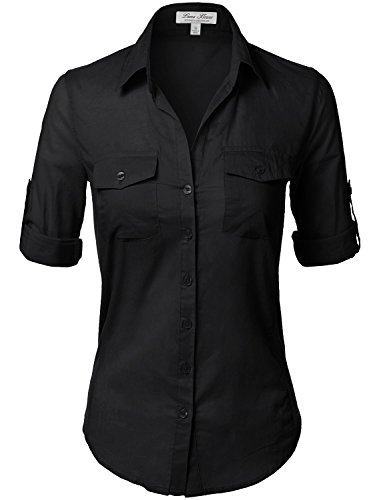 Side Ribbed Panel Stylish Button Down Solid Color Shirts,110-Black,US S
