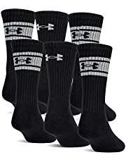 Under Armour Youth Charged Cotton 2.0 Crew Socks, 6-Pairs