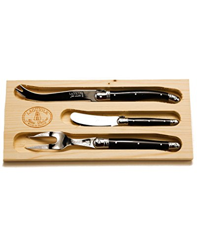 Jean Dubost 3 Piece Cheese Set with Handles, Black