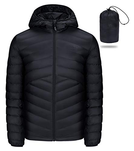 CAMEL CROWN Men's Packable Down Jacket Hooded Lightweight Puffer Insulated Coat for Travel Outdoor Hiking Black