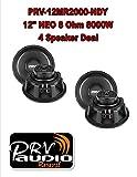 (4) 12'' Neodymium PRV Full Loud 12MR2000-NDY Midrange Midbass 8000W 8-Ohm Speaker 2 Pair