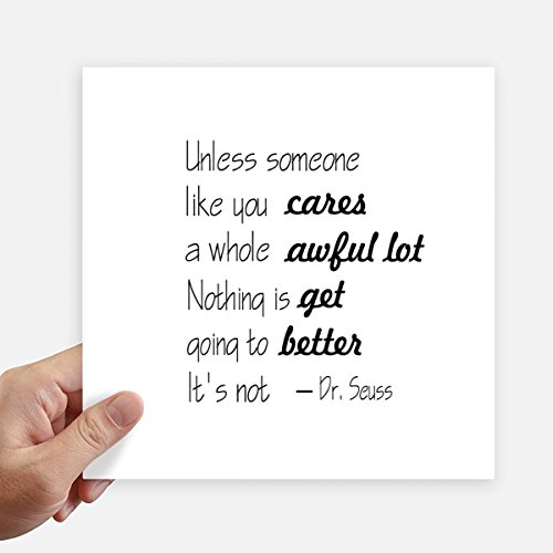 Dr Seuss Quote Cares a Whole Awful Square Stickers 20cm Wall Suitcase Laptop Motobike Decal 4pcs