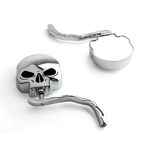 Krator Skull and Flames Universal Custom Chrome Motorcycle Mirrors - Free Adapters Mirrors Fits Most Harley Davidsons, Suzuki, Honda, Kawasaki Cruisers Black Chrome Flame Mirrors