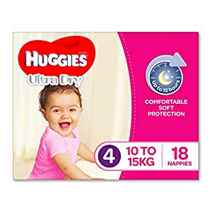 Huggies Ultra Dry Nappies, Girls, Size 4 Toddler (10-15kg), 18 Count