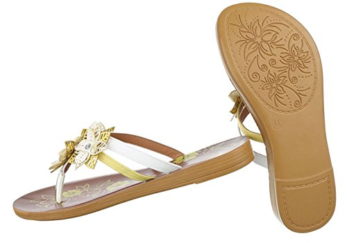 Damen Sandalen Schuhe Sommerschuhe Strandschuhe Zehentrenner Weiß 36 QvbuZ