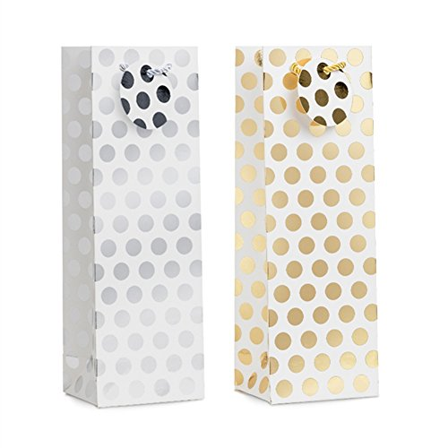 Otter Fur (UNIQOOO 12 Pack Premium Wine, Gold Silver Polka Dots Liquor Beer Gift Bags – Single Bottle Tote with Handles Note Card –Perfect For Wine Lovers, Wedding, Birthday, Housewarming Dinner Parties)