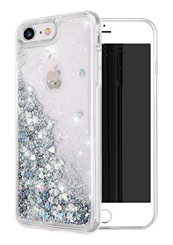 iPhone 7 Case, iPhone 8 Case, WORLDMOM Double Layer Design Bling Flowing Liquid Floating Sparkle Colorful Glitter Waterfall TPU Protective Phone Case for Apple iPhone 7/iPhone 8, Silver