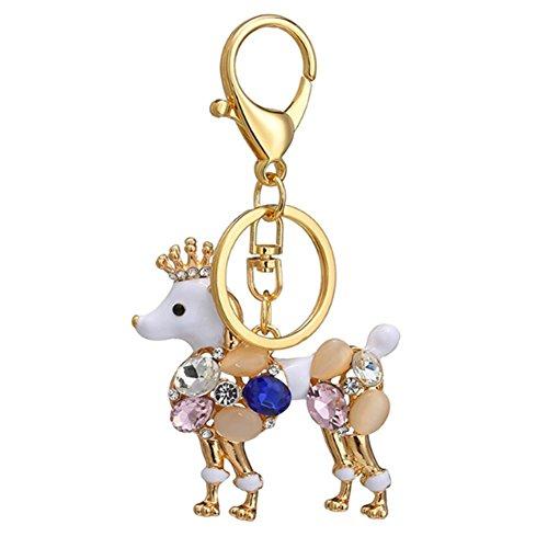 Fashion Metal Imitation Diamond Animal Handbag Backpack Wallet Keychain Car Key Ring Gift Sets for Girls Women (Poodle)