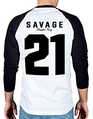 Ulterior Clothing 21 Savage Two Tone Baseball T-Shirt Savage Mode