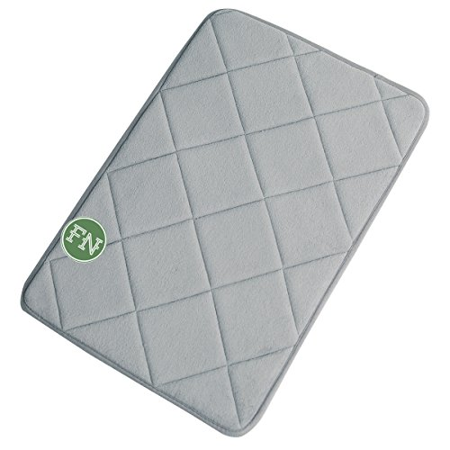 FindNew Non-Slip Soft Microfiber Memory Foam Bath Mat,Toilet Bath Rug,with Anti-Skid Bottom Washable Quickly Drying Bathroom mats (16 X 24, Gray-net)