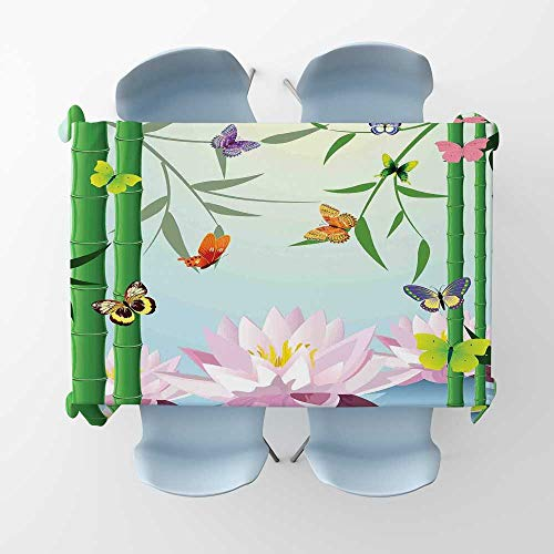 kungfu Decoration Butterflies Fabric Tablecloth Butterflies on The Branch of Lotus Bamboo Flower Exotic Nature Mod Graphic Art HomeRectangle/Oblong Table Cover W 52