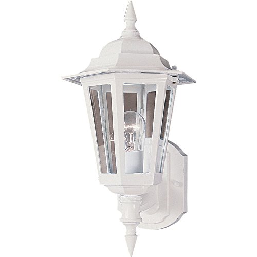 Maxim 3000CLWT Builder Cast 1-Light Outdoor Wall Mount, White Finish, Clear Glass, MB Incandescent Incandescent Bulb , 100W Max., Wet Safety Rating, Standard Dimmable, Glass Shade Material, Rated Lumens