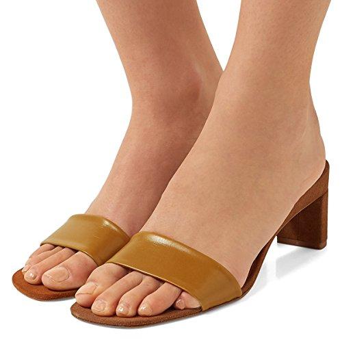 Sandalias De La Sola Correa Cómodas De Las Mujeres De Fsj Zapatos Abiertos De Las Sandalias De Los Altos Tacones Altos Del Dedo Del Pie Tamaño 4-15 Us Brown