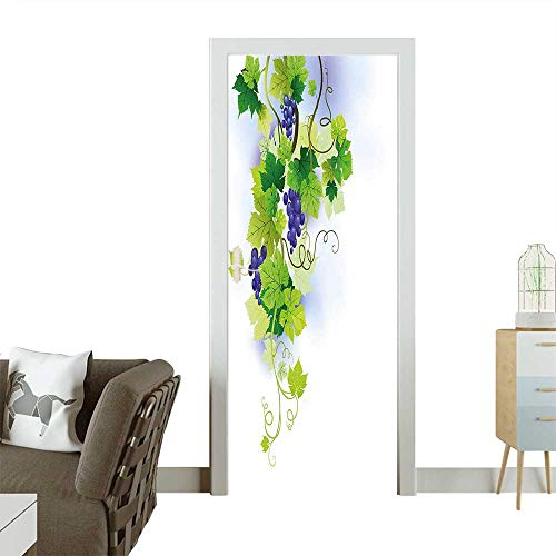(Decorative Door Decal Floral Harvest Stem Scenery Vines Viticulture Ripe Mass Terroir Purple Green Stick The Picture on The doorW32 x H80 INCH)