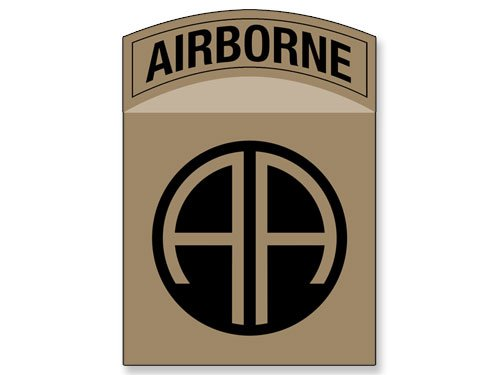 American Vinyl TAN/Khaki 82nd Airborne AA Insignia Shaped Sticker (Army SSI Logo 82)