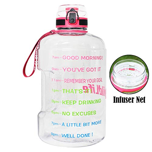 BuildLife Gallon Motivational Water Bottle Wide Mouth with Time Marker/Flip Top Leakproof Lid/One Click Open/Large BPA Free Capacity for Fitness Goals and Outdoor(Clear/Pink, 1 Gallon)